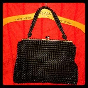 Vintage Grandee beaded clutch black dots